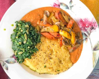Continental Dinner To You Love - Creamy Polenta, Spinach Stir Fry & Vegetables In Pepper Sauce