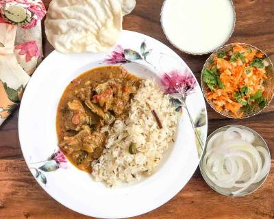 Enjoy A Delicious Weekend Meal With Madras Lamb Curry, Ghee Rice And Salad