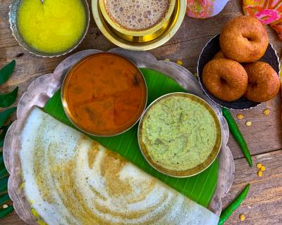Enjoy A Lip Smacking South Indian Breakfast Of Ghee Masala Dosa, Sambar and Chutney