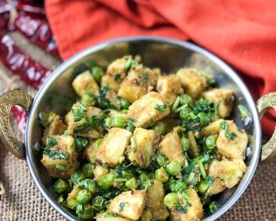Kela Matar ki Sabzi Recipe - Raw Banana Green Peas Stir Fry