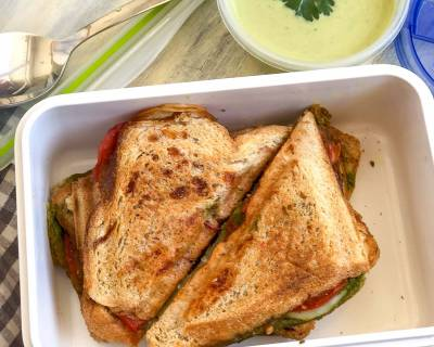 Lunch Box Ideas: Grilled Tomato Cucumber Chutney Sandwich And Almond Broccoli Soup