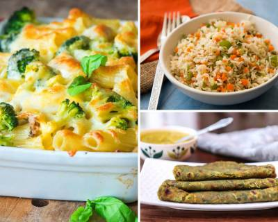 Kids Lunch Box Menu Plan- Carrot Aloo Paneer Curry, Baked Broccoli Pasta, Vegetable fried Rice & More
