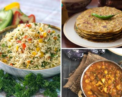 Kids Lunch Box Menu Plan-Veggie Rava Idli, Aloo Raswala Sabzi, Bell pepper Rice & More