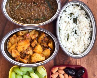 Lunch Box Recieps: Masoor Dal, Achari Aloo and Jeera Rice