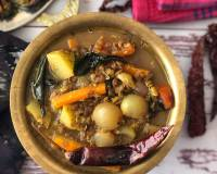 Sprouted Kollu Sambar Recipe - Horse Gram Sambar With Vegetables