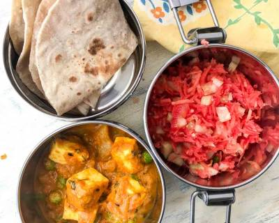 Lunch Box Ideas: Aloo Matar Paneer Curry, Phulka And Salad