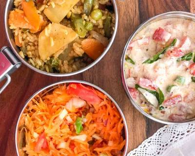 Lunch Box Ideas: Aloo Sabz Dum Biryani, Tomato Onion Tadka Raita And Salad