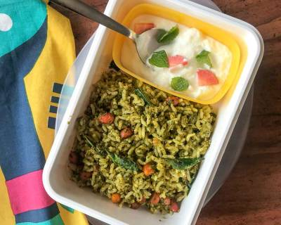 Kids Lunch Box Ideas: Kothamalli Karuveppilai Sadam And Curd