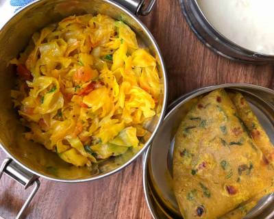 Lunch Box Ideas: Patta Gobhi Ki Sabzi, Methi Thepla and Curd