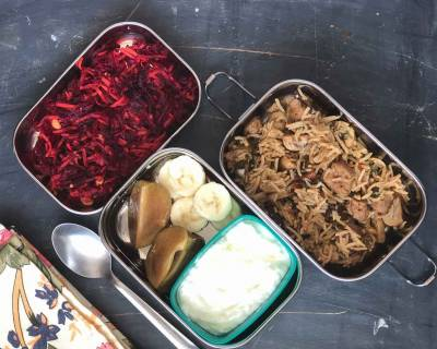 Lunch Box Recipes: Mushroom Soya Biryani, Beet Salad & Fruits