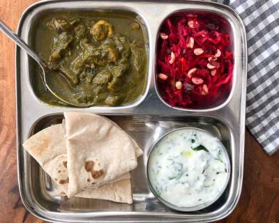 Portion Control Meal Plate: Palak Mushroom, Palak Raita, Phulka And Salad