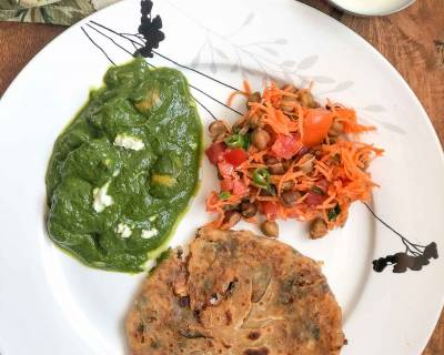 Here's Simple North Indian Dinner - Palak Mushroom, Pyaaz Ka Paratha, Curd & Salad