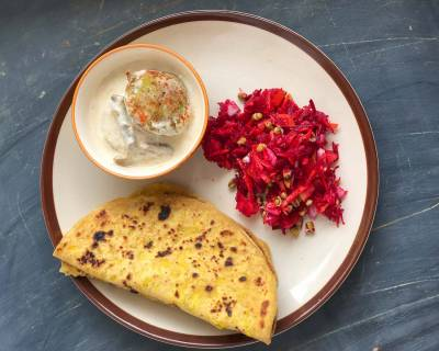 A Simple Sindhi Meal You Will Love - Bhugi Dal Paratha, Khajur Raita