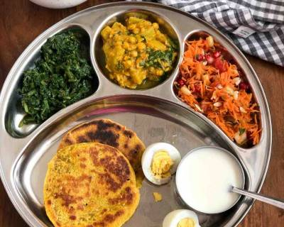 Portion Control Meal Plate: Keerai, Lauki Dal, Bhakri & More