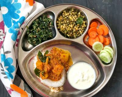 Portion Control Meal Plate - Kuvale Sasam, Padpe Uppukari, Pachai Payaru Poriyal, Steamed Rice And Curd