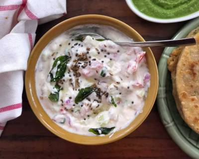 Tomato Onion Tadka Raita Recipe