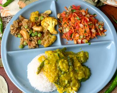 Ayurvedic Meal Of Chal Kopi, Lau Die Tetor Dal And Rice Is Perfect For Your Weekday Meal