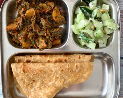 Easy And Delicious, Try This Diabetic Meal Plate Of Amla Methi Sabzi, Paratha And Salad