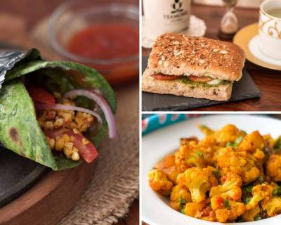 Kids Lunch Box Menu Plan- Mozzarella Basil Sandwiches,Palak Kathi Roll & More
