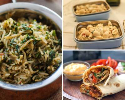 Kids Lunch Box Menu Plan-Palak Pulao,Grilled Tomato Cheese Sandwich, Rajma Wrap & More