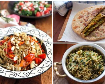 Kids Lunch Box Menu Plan-Broccoli & Dill Stuffed Paratha,Sweet Corn Sandwich,Spinach Rice & More