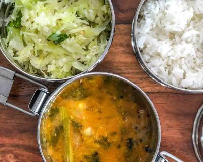 Lunch Box Ideas: Murungakkai Vendhaya Keerai Sambar, Cabbage Poriyal and Rice