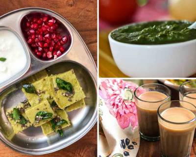 This Weekend Let's Breakfast With Palak Dhokla, Chutney & Chai