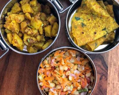 Lunch Box Ideas: Sukhi Aloo Ki Sabzi, Carrot Methi Thepla and Salad