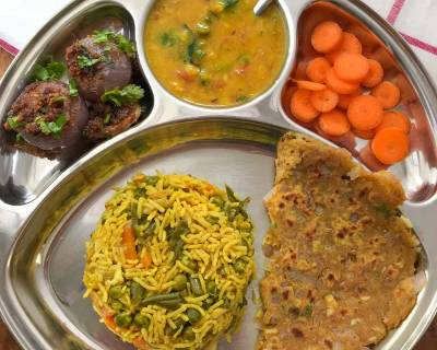 Portion Control Meal Plate: Gujarati Dal, Kathiyawadi Stuffed Onion, Thepla