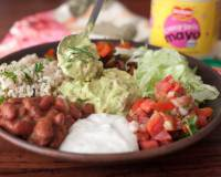 Delicious Spiced Red Bean Mexican Burrito Bowl With Avocados and Cheesy Garlic Mayo