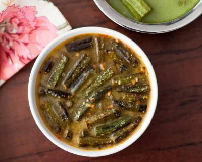 Dahi Ma Bheeda Recipe (Dahi Bhindi - Parsi Style Okras Cooked In Yogurt Recipe)