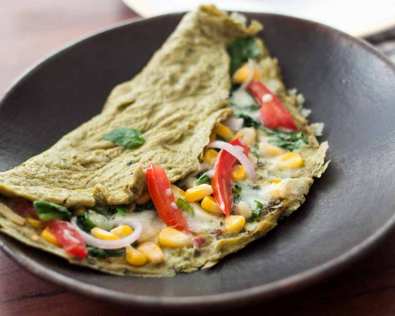 High Protein Spinach Basil & Cheese Omelette Recipe