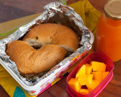 Kids Lunch Box: Mushroom and Scrambled Egg Bagel Sandwich, Mangoes & Fresh Juice