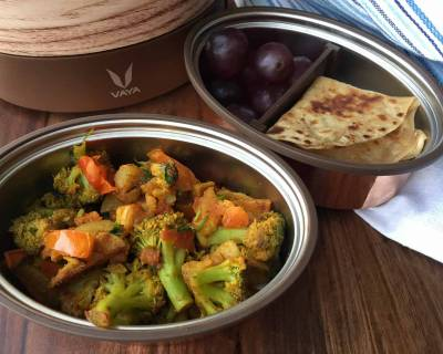 Office Lunch With Vaya : Stir Fried Broccoli & Aloo,Tawa Paratha & Grapes