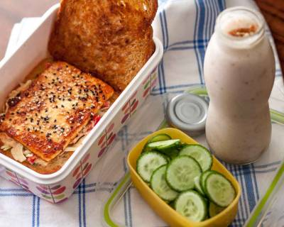 Office & Kids Lunch Box - Tofu Coleslaw Sandwich & Smoothie