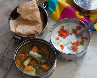 Lunch Box Ideas: No Onion & No Garlic Vegetable Kurma,Parotta & Raita