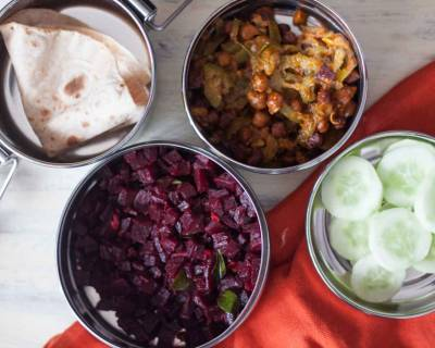 Plan Simple Lunch Box with Beetroot Poriyal and Channa Turai with Roti