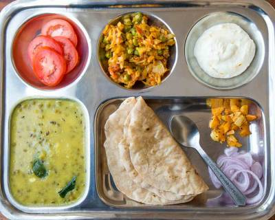 Portion Control Meal Plate:Gujarati Khatta Mag,Patta Gobi Nu Shaak,Gooseberry Pickle & Phulka