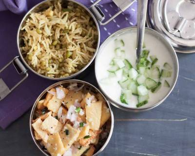 Lunch Box Ideas : Green Moong Bhaat, Yam Salad & Raita