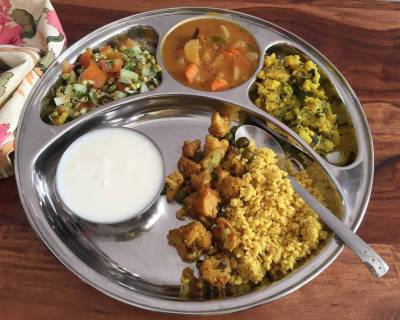 Portion Control Meal Plate: Banarasi Ki Gobhi,Potato Podimas,Vegetable Sambar,Millet Pulao & Salad