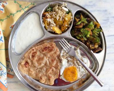 Portion Control Meal Plate: Urad Dal Salad, Broccoli Aloo Sabzi, Fried Egg, Tawa Paratha