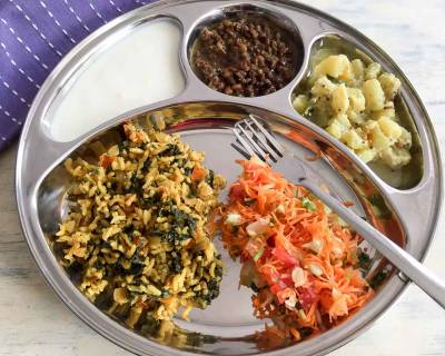Portion Control Meal Plate: Chow Chow Kootu, Masoor Dal, Spinach Rice & Salad