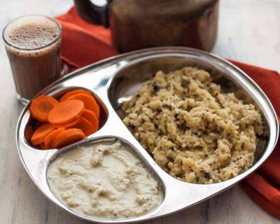 Breakfast Meal Plate : Ven Pongal,Coconut Chutney & Filter Coffee