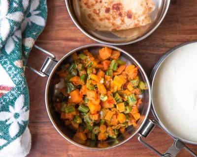 Kids Lunch Box Ideas: Carrot Beans Sukhi Sabzi, Tawa Paratha & Curd