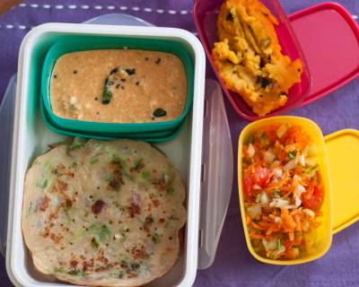 Kids Lunch Box Ideas: Godumai Dosai, Sesame Chutney, Carrot Cucumber Salad