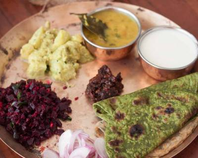 Everyday Meal Plate: Beetroot Poriyal,Spinach Paratha,Gujarati Dal & more