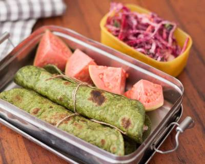 Office & Kids Lunch Box - Palak Paneer Roll With Indian Salad