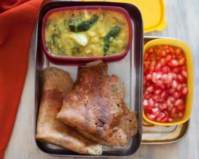 Kids Lunchbox Ideas: Moong Dal Chilla with Palakura Pappu & Pomegrantes