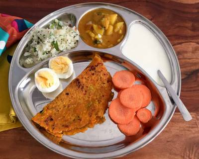 Portion Control Meal Plate:Batata Nu Shaak,Cabbage Poriyal,Carrot Thepla,Boiled Egg & Curd