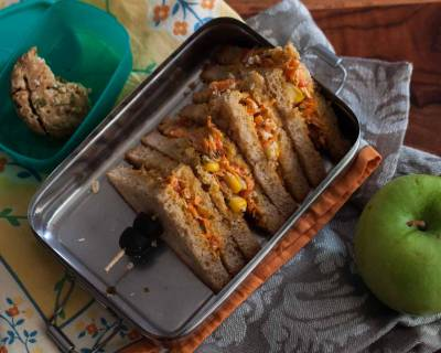 Kids Lunch Box Ideas:Creamy Vegetable Oats Mayo Sandwich, Whole Wheat Biscuit and Apple